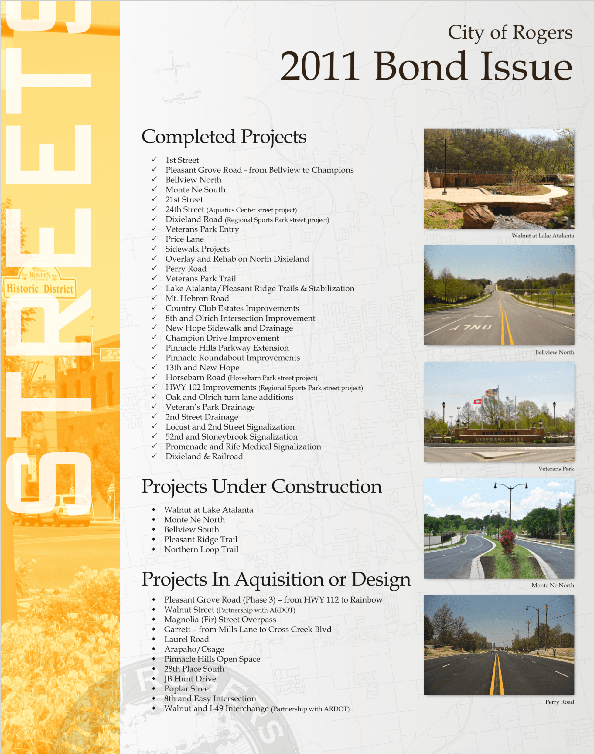 Completed Street Projects from 2011 Bond